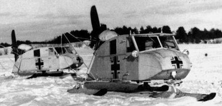 Трехлыжные аэросани НКЛ-16на службе у Вермахта.