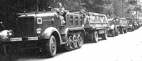 Колонна моторизованного мостового парка типа В с тягачами Sd.Kfz.7