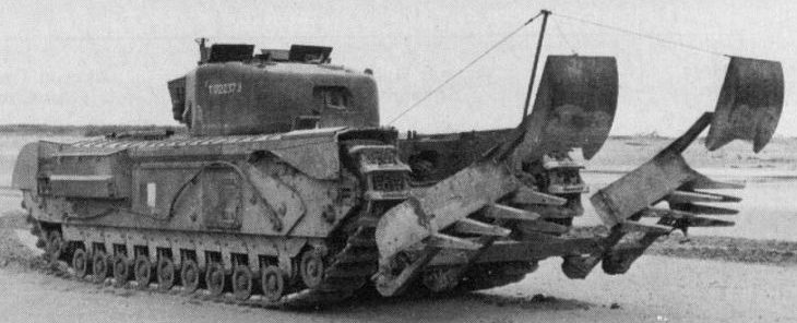 Танк Mk-IV «Churchill» с минным тралом «Mine Plough»