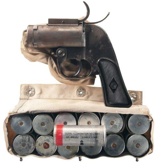 Ракетница М-8 с брезентовым подсумком 37-мм патронов с алюминиевой гильзой
