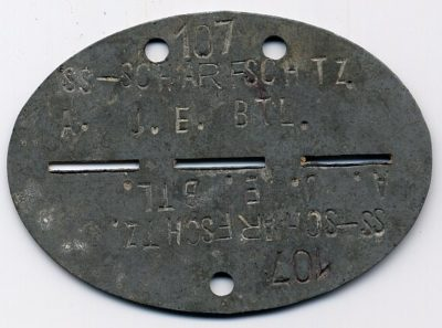 Жетоны военнослужащего подразделения СС.
