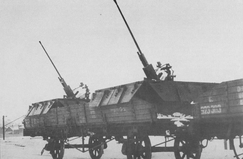 Бронеплощадка площадка ПВО с 25-мм пушками
