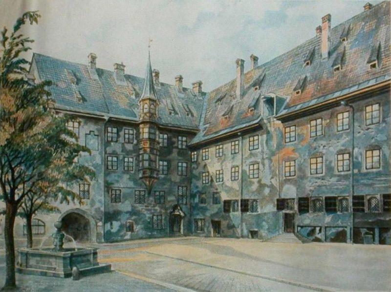 Двор старой резиденции в Мюнхене. 1914 г