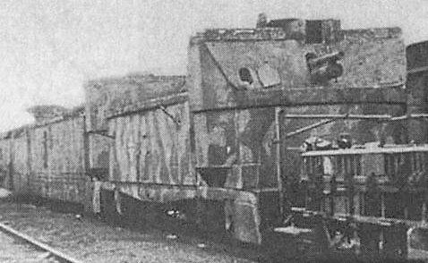 бронеплощадка бронепоезда №54 с 75-мм и 100-мм орудиями