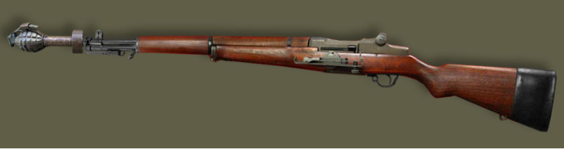 Винтовка Garand M-1 с гранатой, угломером и резиновой насадкой