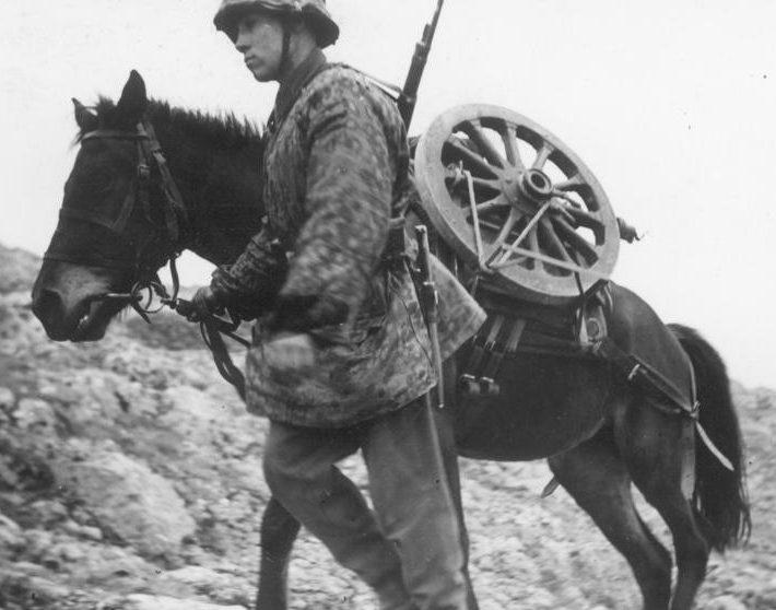 перевозка пушки Cannone dа 65/17 M-13 в горах