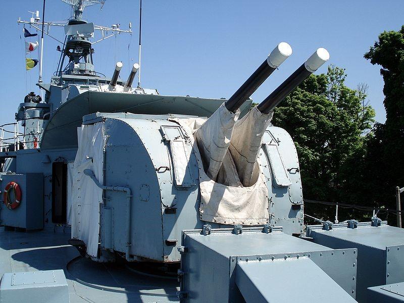 спаренное зенитное орудие  QF-4 inch gun M-XVI