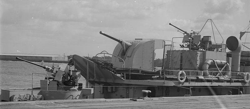 одностовльное зенитное орудие  QF-4 inch gun M-XVI