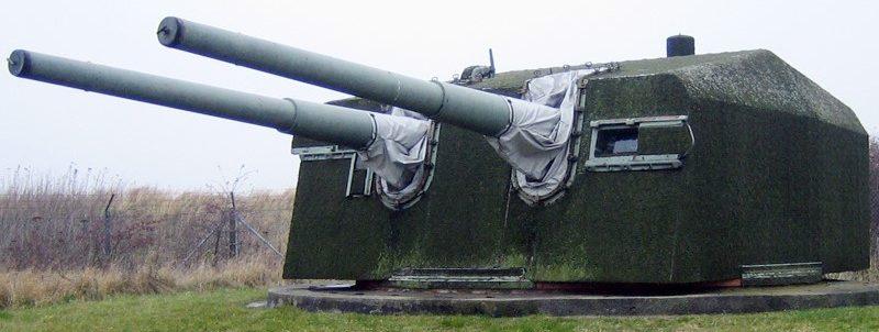 Береговое орудие 15-cm/55 SK C/28 в двухорудийной башне
