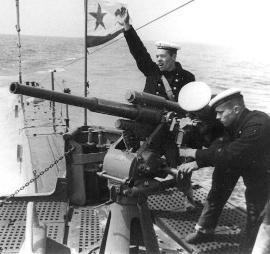 Орудие 21-К, установленное на подводной лодке «Щ-214»