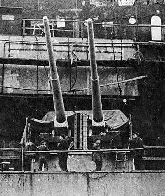 корабельное орудие 15-cm/55 SK C/28 в двухорудийной башне