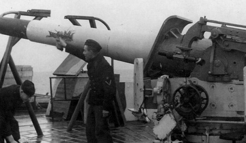 Корабельное орудие 15-cm KL/45 на торговом судне