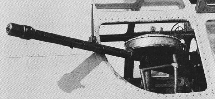 Авиационный пулемет Те-1 в окне Ki-21