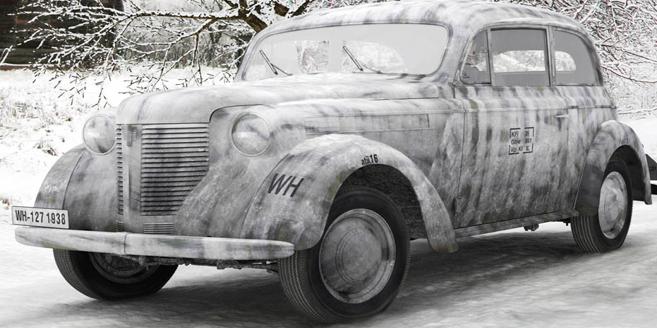 Седан Opel Olympia OL-38 в зимнем камуфляже