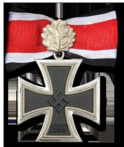 Аверс Рыцарского креста Железного креста с Дубовыми листьями и лентой.