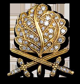 Аверс Рыцарского креста с золотыми Дубовыми листьями, Мечами и Бриллиантами.