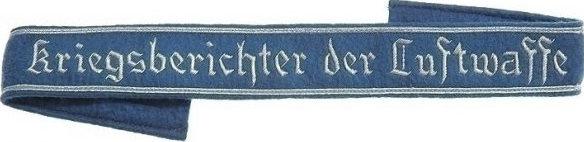 Нарукавная офицерская лента «Военный корреспондент Люфтваффе».