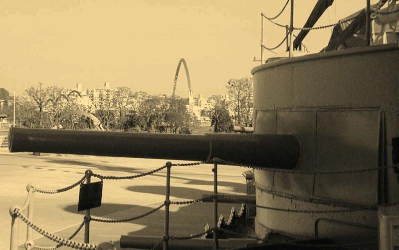 корабельное орудие QF-6 inch/40 установленное на японском броненосце «Mikasa»