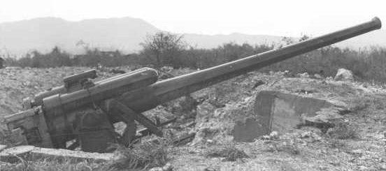 """Зенитное орудие 12.7-cm/40 (5"""") Type 89 в береговом варианте"""