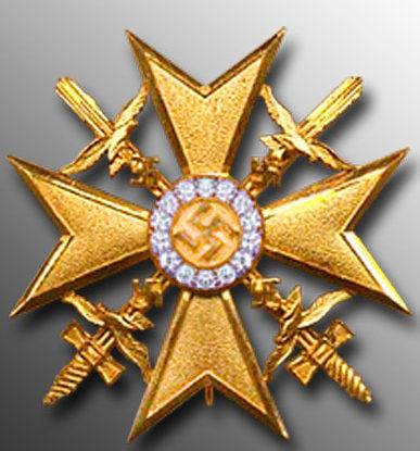 Аверс Золотого креста с мечами и бриллиантами.