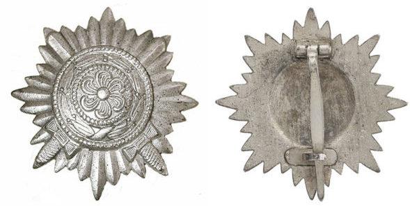 Аверс и реверс ордена I класса «в серебре» с мечами.