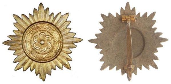 Аверс и реверс ордена I класса «в золоте».
