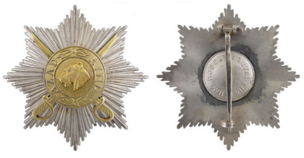 Аверс и реверс звезды 2-го класса с мечами «Полководец» на шпильке.