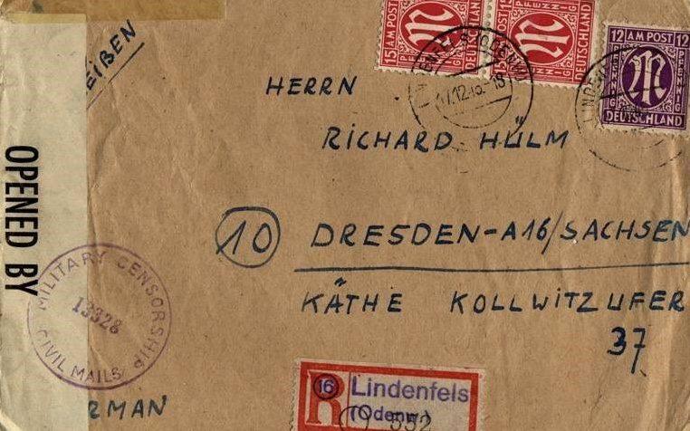 Письмо в Дрезден со штампом военной цензуры. 1945 г.