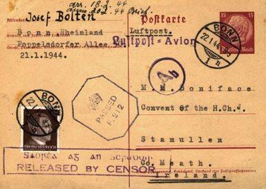 Письмо из Бонна в Ирландию со штампами военной цензуры Германии, Великобритании и Ирландии. 22.01.1944 г.