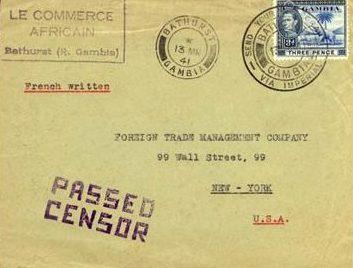 Письмо из Гамбии в Нью-Йорк со штампом «Прошел цензуру». 13.03.1941 г.