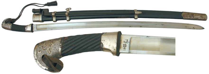 Шашка кавалерийская солдатская обр. 1940 г. с прибором из белого металла