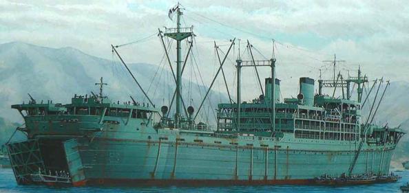 Десантный корабль рисунок «Hyuga Maru»