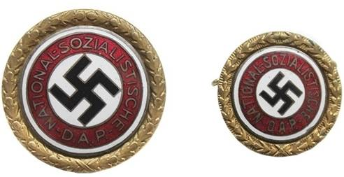 Аверс Золотого партийного знака НСДАП (30,5 мм и 25 мм).