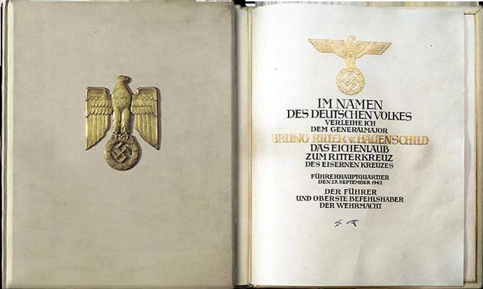 Грамота вручения к Рыцарскому кресту Железного креста с Дубовыми листьями