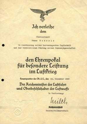 Наградной лист к Дубовым листьям к Рыцарскому кресту Железного креста