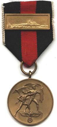 Аверс медали «В память 1 октября 1938» с планкой.