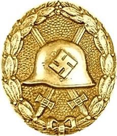 Аверс знака за ранение (в золоте).