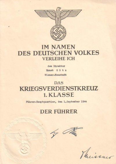 Наградной лист к Кресту за военные заслуги без мечей 1-го класса