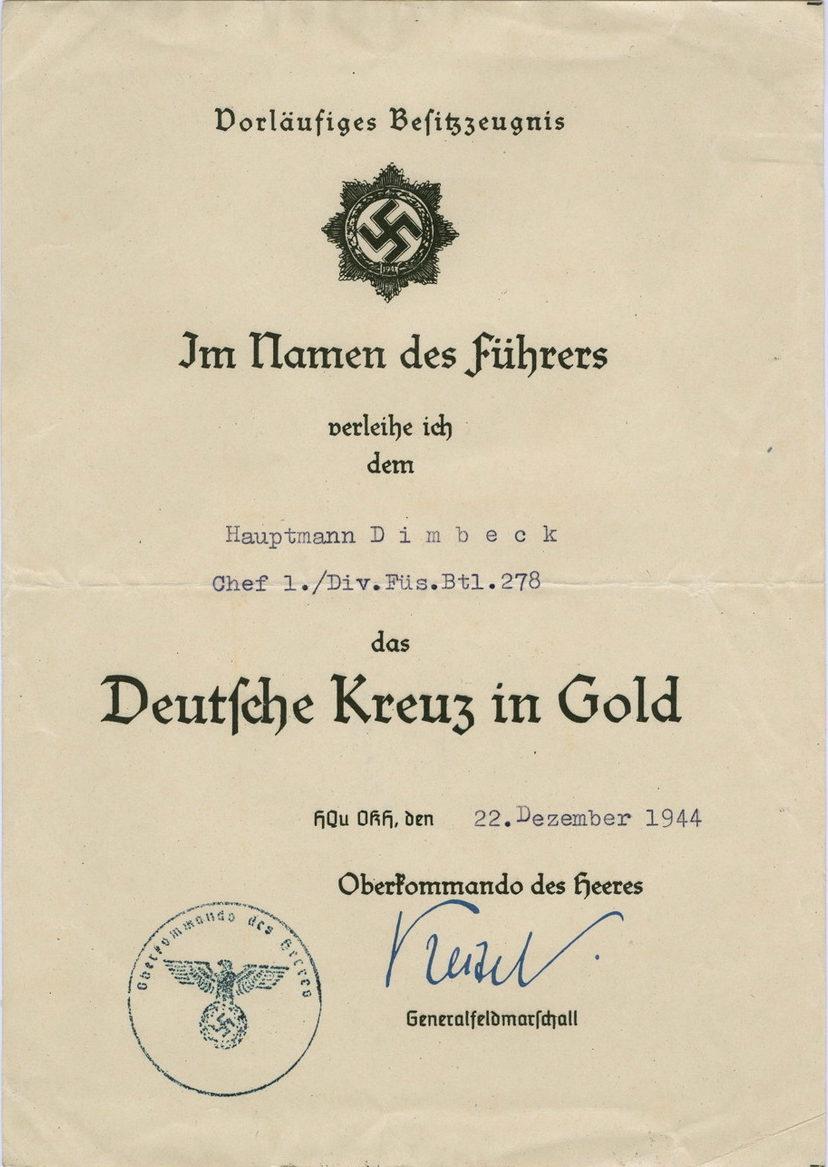 Наградные листы к ордену Немецкий крест в золоте