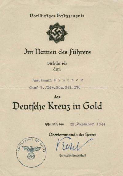 Наградные листы к ордену Немецкий крест в золоте.