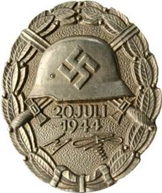 Аверс и реверс знака «За ранение 20 июля 1944» (в серебре). Вручался за ранение средней тяжести.