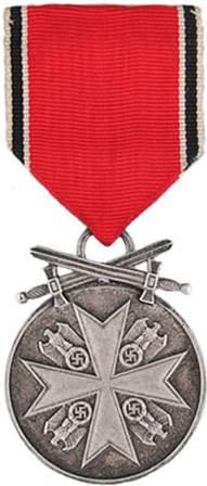 Аверс Немецкой медали за заслуги Ордена немецкого Орла в серебре с мечами.