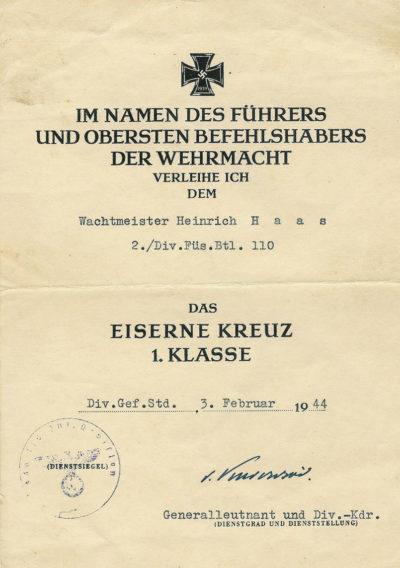 Наградной лист к Железному кресту 1-го класса