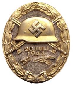 Знак «За ранение 20 июля 1944» (в золоте). Вручался за тяжелое ранение или посмертно.