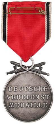 Реверс Немецкой медали за заслуги Ордена немецкого Орла в серебре с мечами.