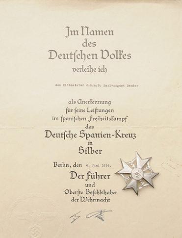Наградной лист к Испанскому кресту в серебре
