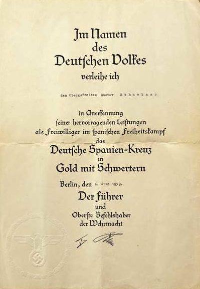 Наградной лист к Испанскому кресту в золоте с мечами