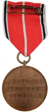 Реверс Немецкой медали за заслуги Ордена немецкого Орла в бронзе.