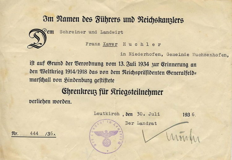 Наградные листы к Почётному кресту за мировую войну 1914-1918 (крест Гинденбурга).