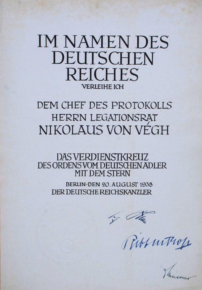 Наградной лист к ордену «Немецкого Орла» со звездой
